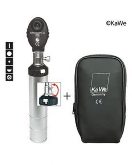 Ophthalmoskop EUROLIGHT E15 2,5 V, mit 5 Blenden und Batteriegriff, in Reißverschlusstasche