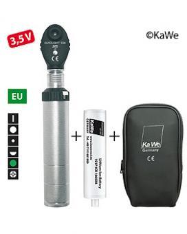 Ophthalmoskop  EUROLIGHT E36, 3,5 V, EU-Version, mit Ladegriff und Akku, in Reißverschlusstasche