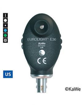 Ophthalmoskop-Kopf EUROLIGHT E36, 2,5 V, Blaufilter, USA-Version mit 6 Blenden