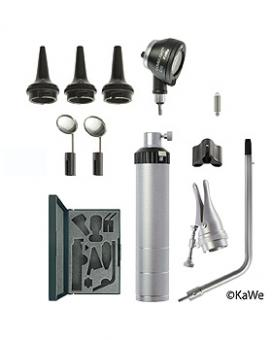 BASIC SET C10 Otoskop-Set, mit Otoskopf-Kopf COMBILIGHT C10, Batteriegriff und Zubehör