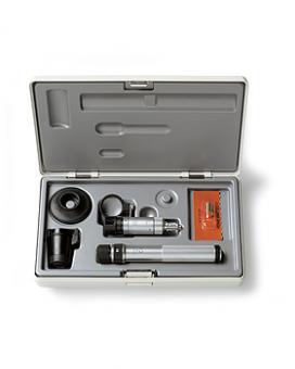 Handspaltlampen HEINE HSL 150 Set, 2,5V, 10x, BETA SLIM Batteriegriff, Lupenaufsatz