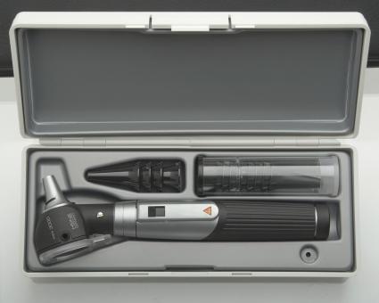 Otoskop Set HEINE mini 3000, 2,5V, mit Tips, Batterien, Hartschalenetui schwarz | ohne Lasergravur